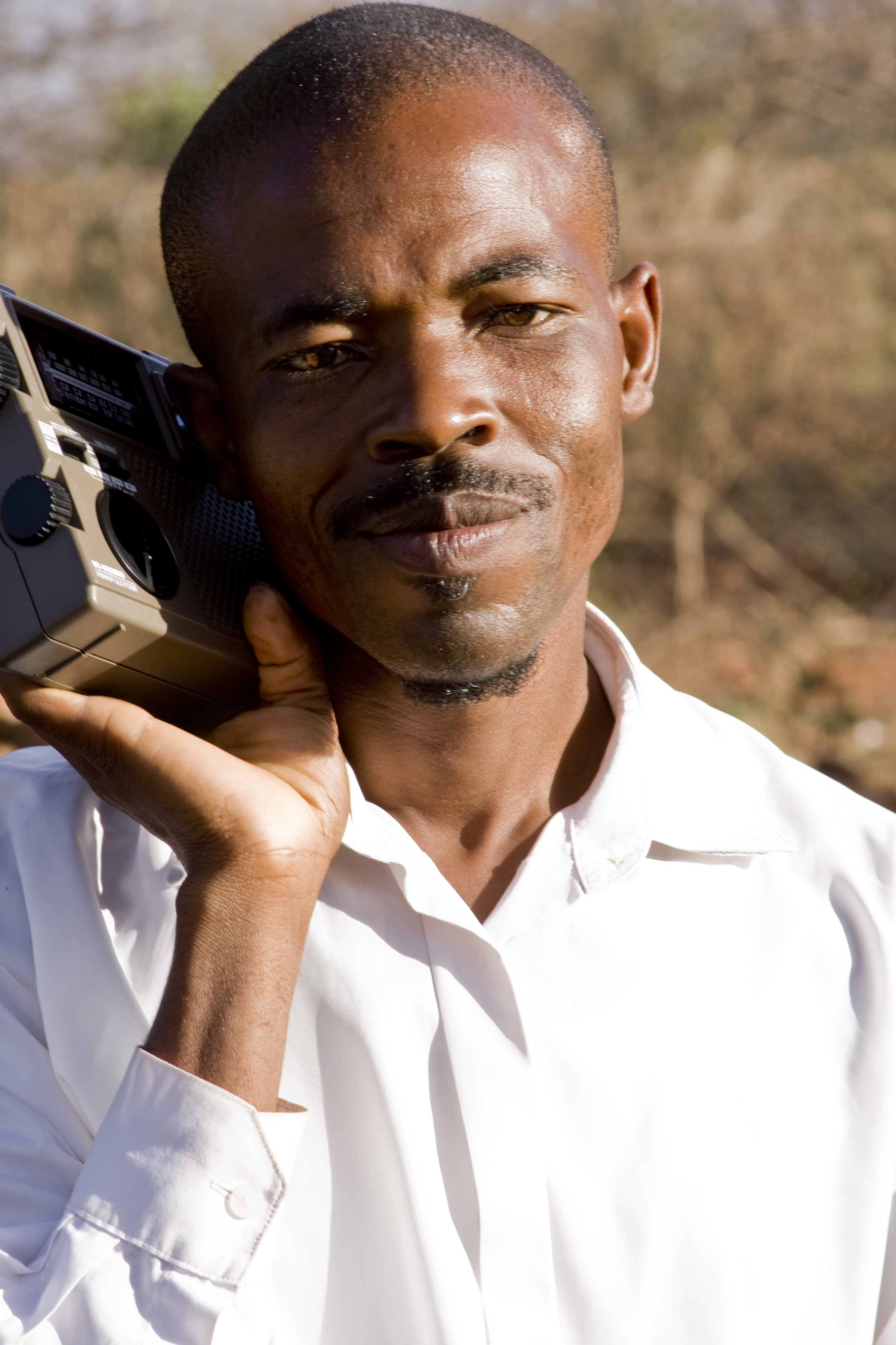 African man with radio