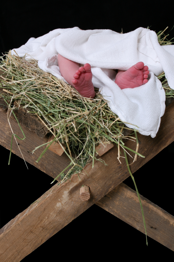 Manger showing a baby